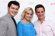 Christopher Sean, Jessica Collins, and Christian LeBlanc arrive at the Performers Peer Group Celebration August 24 at the Montage in Beverly Hills, California.