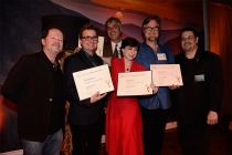 Chuck Sheetz and Russell Calabrese with the team from Phineas and Ferb at the Animation and Children's Programming Nominee Reception in North Hollywood, California.