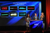 Uzo Aduba and Cat Deeley look on as Television Academy CEO Bruce Rosenblum announces the nominees for Outstanding Comedy Series at the nominations announcement for the 67th Emmy Awards  July 16, 2015 at the Pacific Design Center in Los Angeles, CA.