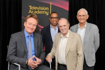 Conan O'Brien, Television Academy chairman and CEO Hayma Washington, Bob Newhart and Peter Bonerz at The Rise of the Cerebral Comedy: A Conversation with Bob Newhart, presented Tuesday, Aug. 8, 2017, at the Television Academy's Wolf Theater at the Saban M