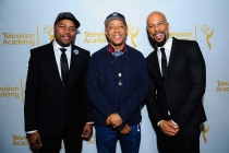 D-Nice, Russell Simmons and Common on the red carpet at An Evening with Norman Lear at the Montalban Theater in Hollywood.