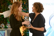 Host Dana Delaney presents the award to Jill Soloway, producer of Transparent, at the awards presentation at the Eighth Annual Television Academy Honors, May 27 at the Montage Beverly Hills.