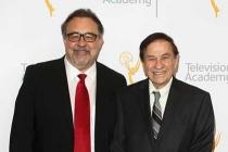 Don Hahn and Richard Sherman arrive at the 68th Los Angeles Area Emmys, July 23, 2016, at the Saban Media Center, North Hollywood, California.