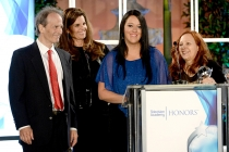 Nick Doob, Katrina Gilbert, Sherri Cookson and Maria Shriver of the documentary Paycheck to Paycheck: The Life and Times of Katrina Gilbert, accept their award at the awards presentation at the Eighth Annual Television Academy Honors, May 27 at the Montag