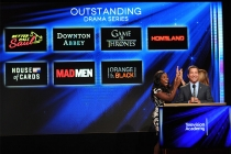Uzo Aduba and Cat Deeley react as Television Academy CEO Bruce Rosenblum announces the nominees for Outstanding Drama Series at the nominations announcement for the 67th Emmy Awards  July 16, 2015 at the Pacific Design Center in Los Angeles, CA.