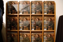 """A display of the Jon Hamm issue of emmy magazine at """"A Farewell to Mad Men,"""" May 17, 2015 at the Montalbán Theater in Hollywood, California."""