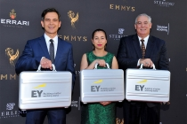 Ernst and Young accountants arrive at the L.A. Area Emmy Awards presented at the Television Academy's Wolf Theatre at the Saban Media Center on Saturday, July 22, 2017, in North Hollywood, California.