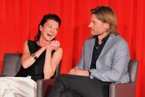 Michelle Fairley and Nikolaj Coster-Waldau onstage at An Evening with Game of Thrones.