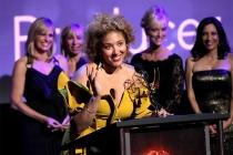 Favra Burgess accepts her award at the 68th Los Angeles Area Emmys, July 23, 2016, at the Saban Media Center, North Hollywood, California.