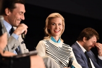 """Jon Hamm, January Jones, and Vincent Kartheiser onstage at """"A Farewell to Mad Men,"""" May 17, 2015 at the Montalbán Theater in Hollywood, California."""