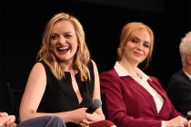 "Elisabeth Moss and Christina Hendricks onstage at ""A Farewell to Mad Men,"" May 17, 2015 at the Montalbán Theater in Hollywood, California."