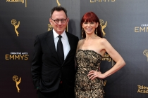 Carrie Preston and Michael Emerson on the red carpet at the 2016 Creative Arts Emmys.