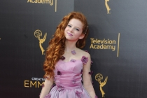 Francesca Capaldi arrives on the red carpet at the 2016 Creative Arts Emmys.