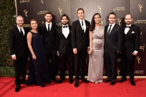 The visual effects team of Penny Dreadful on the red carpet at the 2016 Creative Arts Emmys.