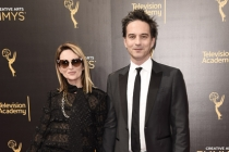 Nina Gordon and Jeff Russo on the red carpet at the 2016 Creative Arts Emmys.