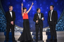The sound mixing team from Game of Thrones accept an award at the 2016 Creative Arts Emmys.