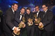Jack Martin, Christopher D'Elia, Chris Hardwick, Alex Blagg, and Joe Farrell at the 2016 Creative Arts Ball.