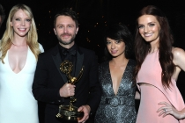 Riki Lindhome, Chris Hardwick, Kate Micucci and guest at the 2016 Creative Arts Ball.