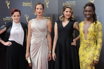 Kate Fisher, Jen Richards, Laura Zak, and Angelica Ross on the red carpet at the 2016 Creative Arts Emmys.