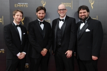 The team from Honest Trailers on the red carpet at the 2016 Creative Arts Emmys.