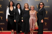 Gloria Steinem and team on the red carpet at the 2016 Creative Arts Emmys.