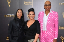Zaldy Goco, from left, Michelle Visage, and RuPaul Charles on the red carpet at the 2016 Creative Arts Emmys.