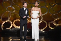 Seth Green and Michelle Ang on stage at the 2016 Creative Arts Emmys.