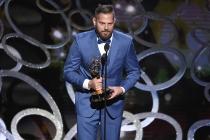 Jason Kolowski accepts his award at the Creative Arts Emmys.