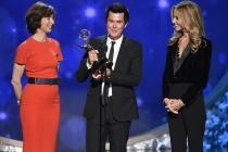 Cecile Frot-Coutaz, Simon Fuller, and Dana Walden accept their award at the 2016 Creative Arts Emmys.