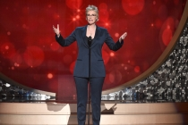 Jane Lynch on stage at the 2016 Creative Arts Emmys.