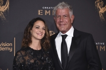 Asia Argento and Anthony Bourdain on the red carpet at the 2017 Creative Arts Emmys.