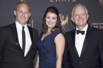 Tom Hugh-Jones, Elizabeth White, and Mike Gunton on the red carpet at the 2017 Creative Arts Emmys.