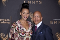 Rickey Minor and Rachel Montez Minor on the red carpet at the 2017 Creative Arts Emmys.