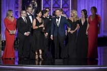 The team from Shark Tank accepts their award at the 2017 Creative Arts Emmys.
