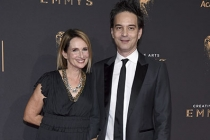 Nina Gordon and Jeff Russo on the red carpet at the 2017 Creative Arts Emmys.