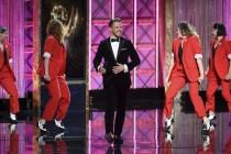 Derek Hough on stage at the 2017 Creative Arts Emmys.
