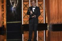Peter Chakos accepts his award at the 2017 Creative Arts Emmys.