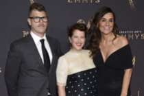David Schlussel, Molly R. Stern, and Lona Vigi on the red carpet at the 2017 Creative Arts Emmys.