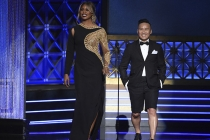 Laverne Cox and BD Wong present an award at the 2017 Creative Arts Emmys.