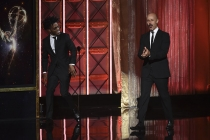 Jermaine Fowler and Maz Jobrani present an award at the 2017 Creative Arts Emmys.