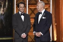 Matthew Rhys and Gerald Mcraney present an award at the 2017 Creative Arts Emmys.