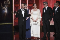 The team from Los Pollos Hermanos Employee Training accepts their award at the 2017 Creative Arts Emmys.