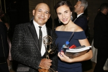 Eddie Perez and guest at the 2017 Creative Arts Emmys.