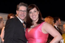 Bob Bergen (l) and Allison Tolman (r) of Fargo attend the Performers nominee reception.