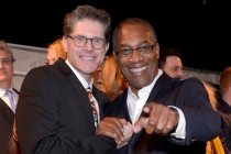 Bob Bergen (l) and Joe Morton (r) of Scandal attend the Performers nominee reception.