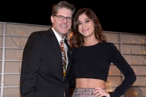 Bob Bergen (l) and Lizzy Caplan (r) of Masters of Sex attend the Performers nominee reception.