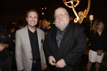 Maury McIntyre (l) and George R.R. Martin (r) at the Producers Nominee Reception.