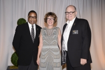 Screech Washington, (left), Phillippa Giles (center) and Tim Gibbons at the Producers Nominee Reception.