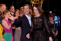 Academy Chairman & CEO Bruce Rosenblum, left, and nominee Sarah Paulson attend the Television Academy's 66th Emmy Awards Performance Nominee Reception at the Pacific Design Center on Saturday, Aug. 23, 2014, in West Hollywood, Calif. (Photo by Invision fo