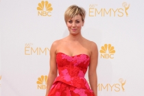 Kaley Cuoco-Sweeting of The Big Bang Theory arrives at the 66th Emmy Awards.